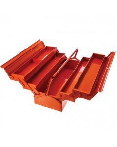 Cajas de herramientas metálicas con cinco compartimentos y posibilidad de colocar un candado  3149-OR