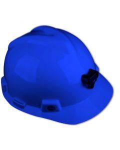 Casco MSA V-GARD con Porta Lámpara y Arnés de tela Azul