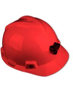 Casco MSA V-GARD con Porta Lámpara y Arnés de tela Rojo